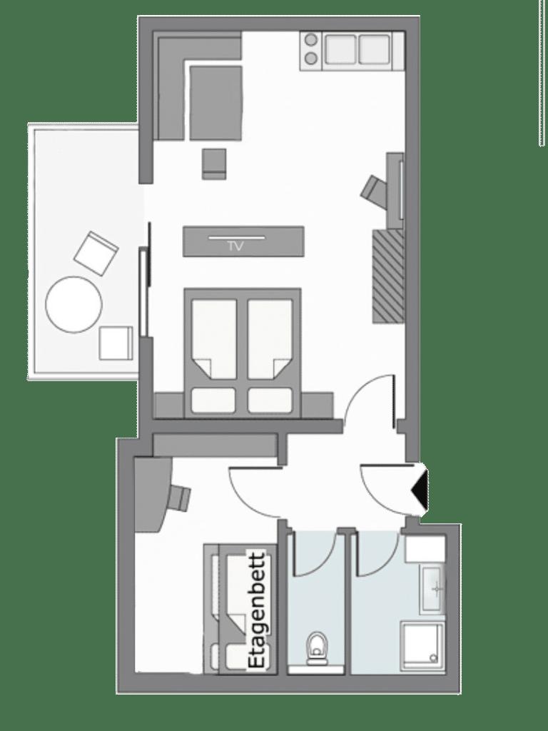 Zimmerplan Apartment 3-4 Personen