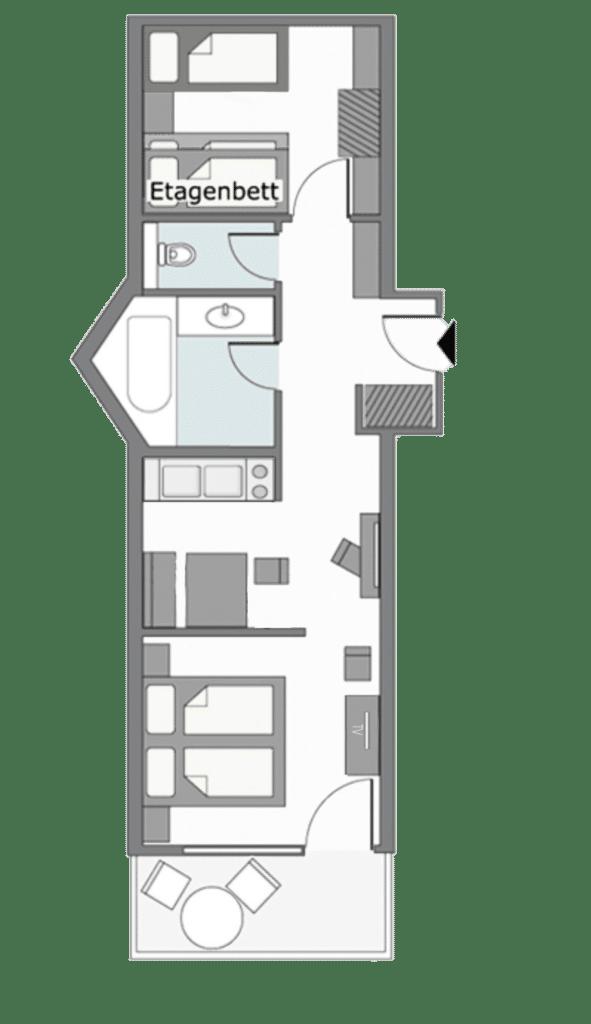 Zimmerplan Apartment 3-5 Personen